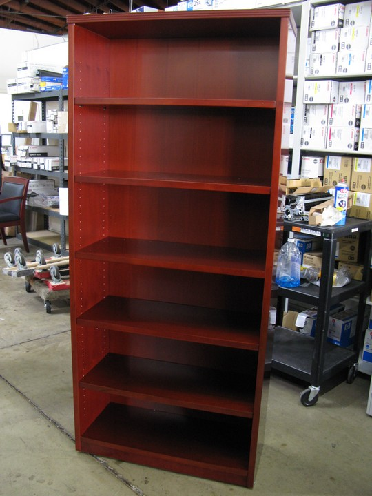 32wx14dx71h 6 Openings With 5 Adj Shelves Open Bookcase In Cherry Wood Mocha Finish Is Also Available