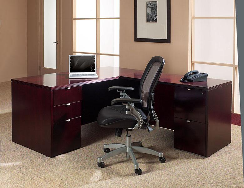kenwood l shaped desk in mahogany wood shaped wood desks home