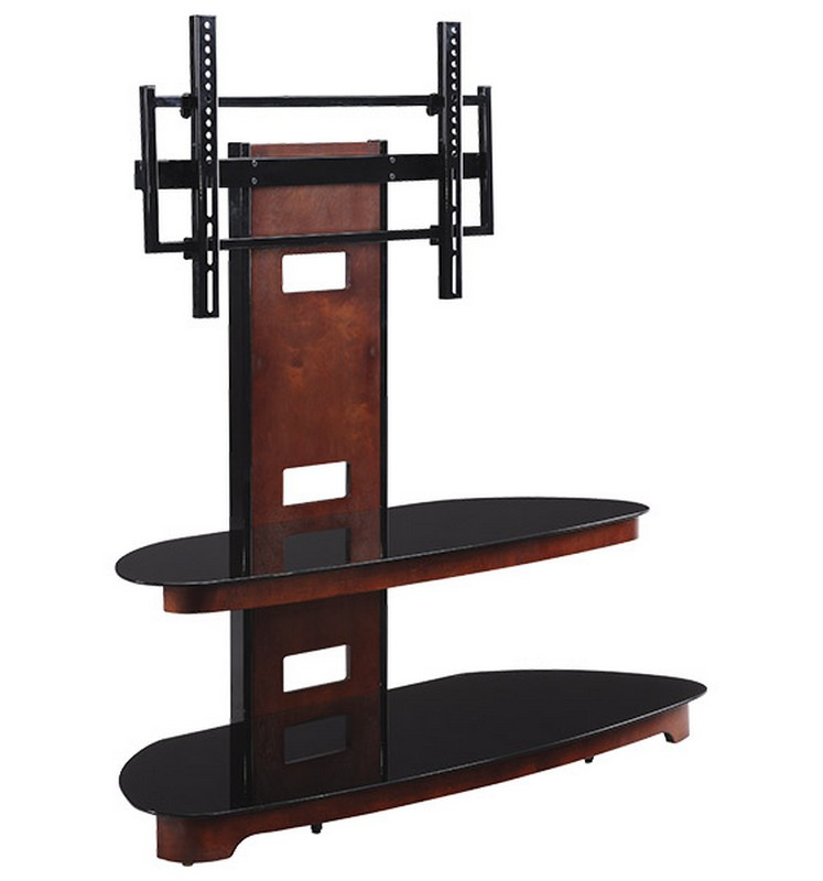 Osp 50wx20 5dx52h Dark Cherry Wood Gl Tv Stand With Mount